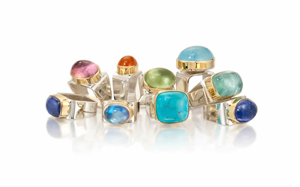 Square rings with cabochon gems