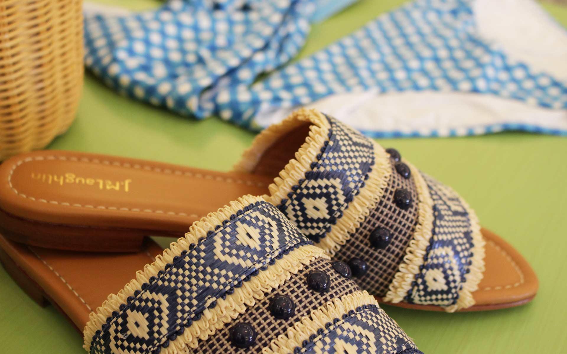 blue and tan slide shoes at J.McLaughlin