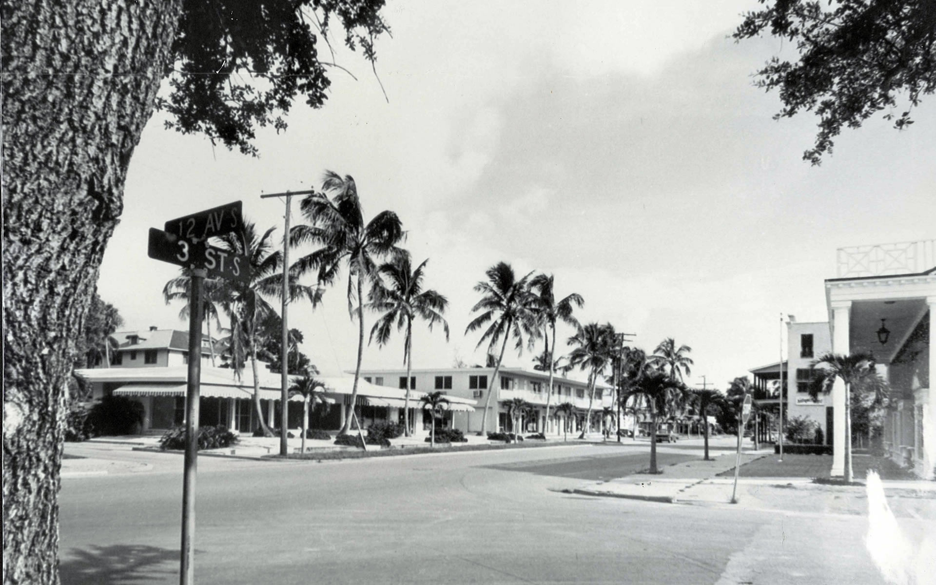 Third Street South from 12th Avenue showing The Beach Patio Building (then Mark, Fore and Strike and now The Englishman and Sea Salt). The former Brae Bedell Building is next to it.