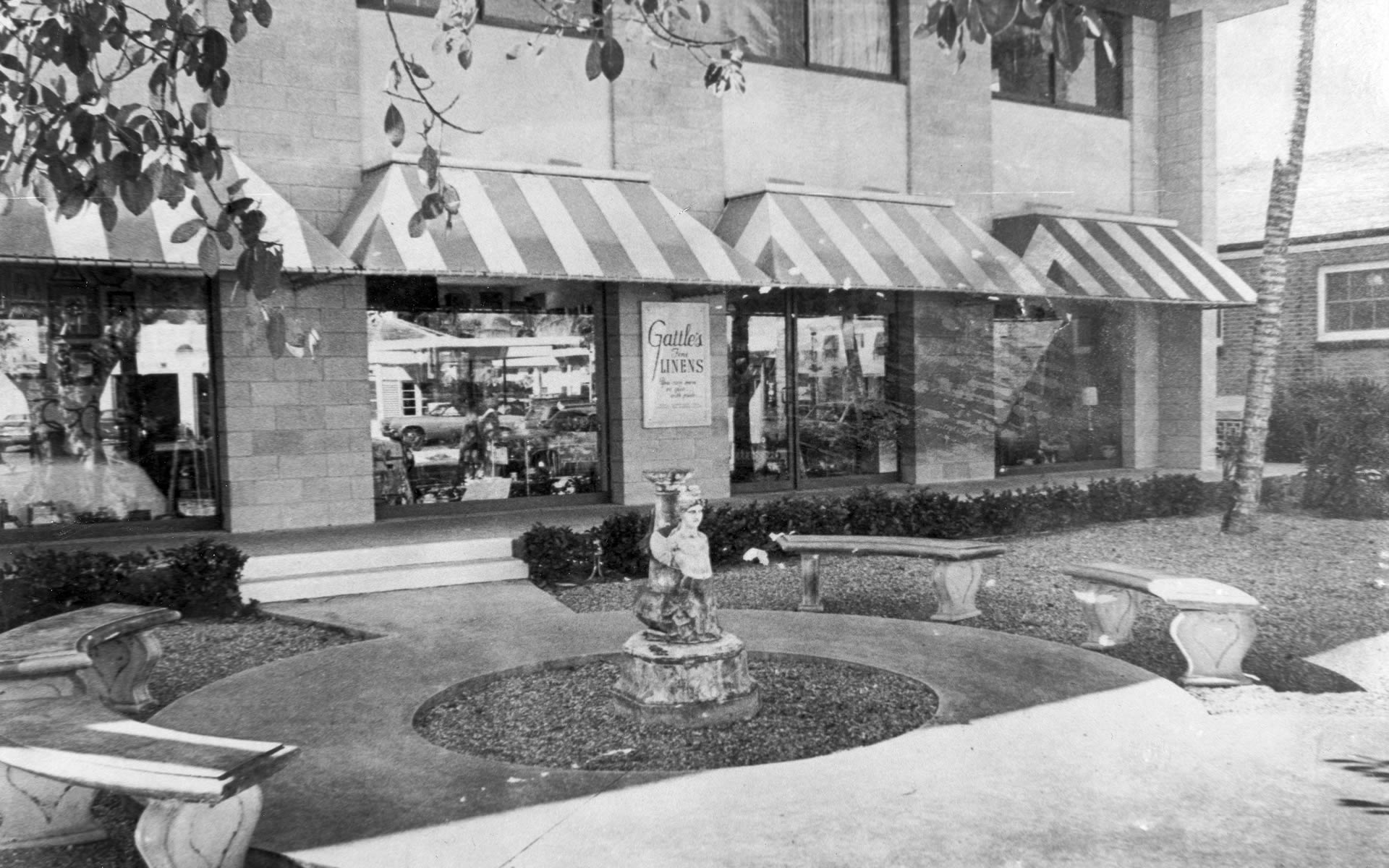 The Fleischmann Building with Gattles in the location it has occupied for over fifty years. The foreground is now different with the Fleischmann Fountain with was brought from the formal gardens of their country house as the centerpiece in memory of their contributions to Naples.