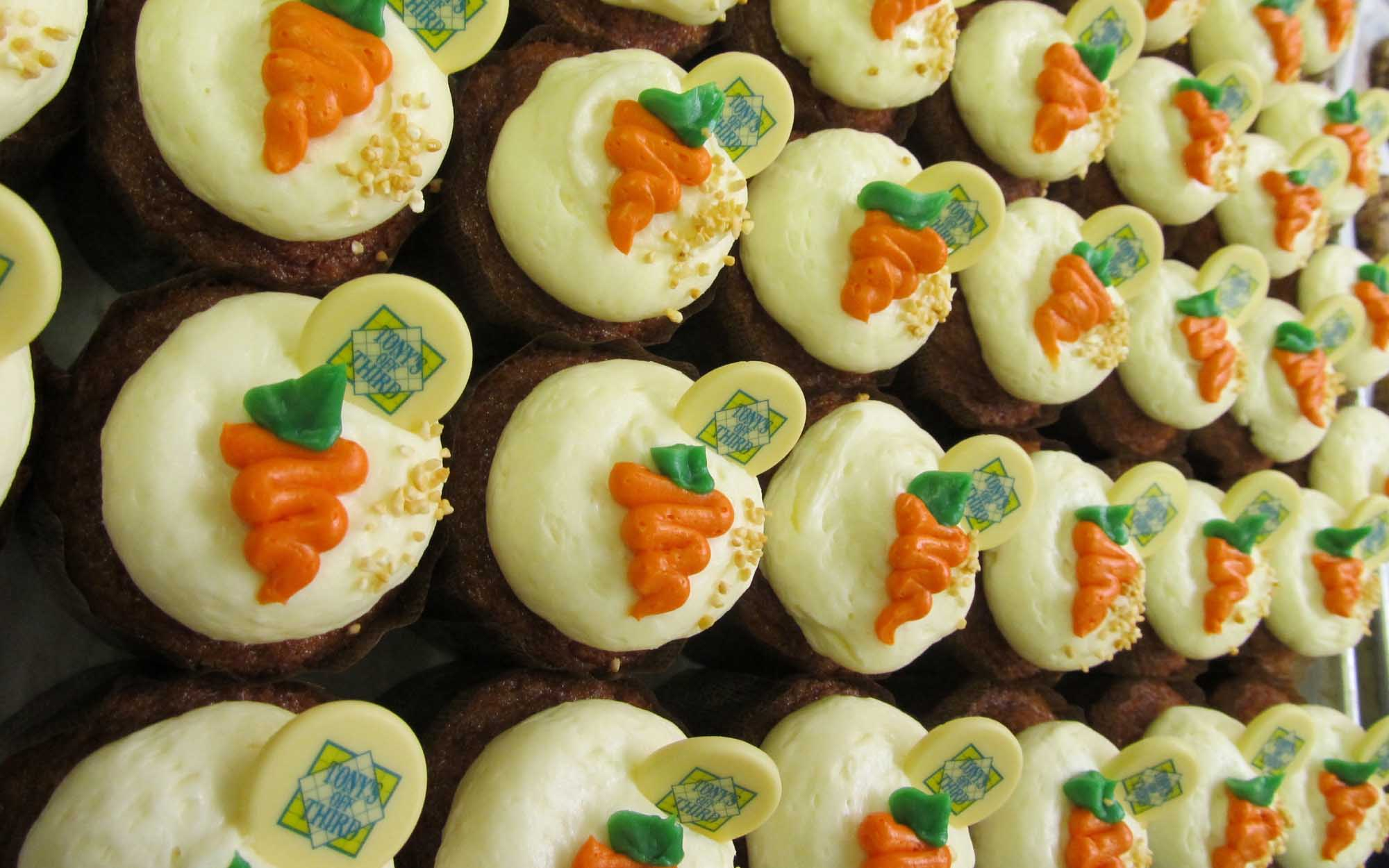 Tray of Carrot Cake Cupcakes at Tony's Off Third
