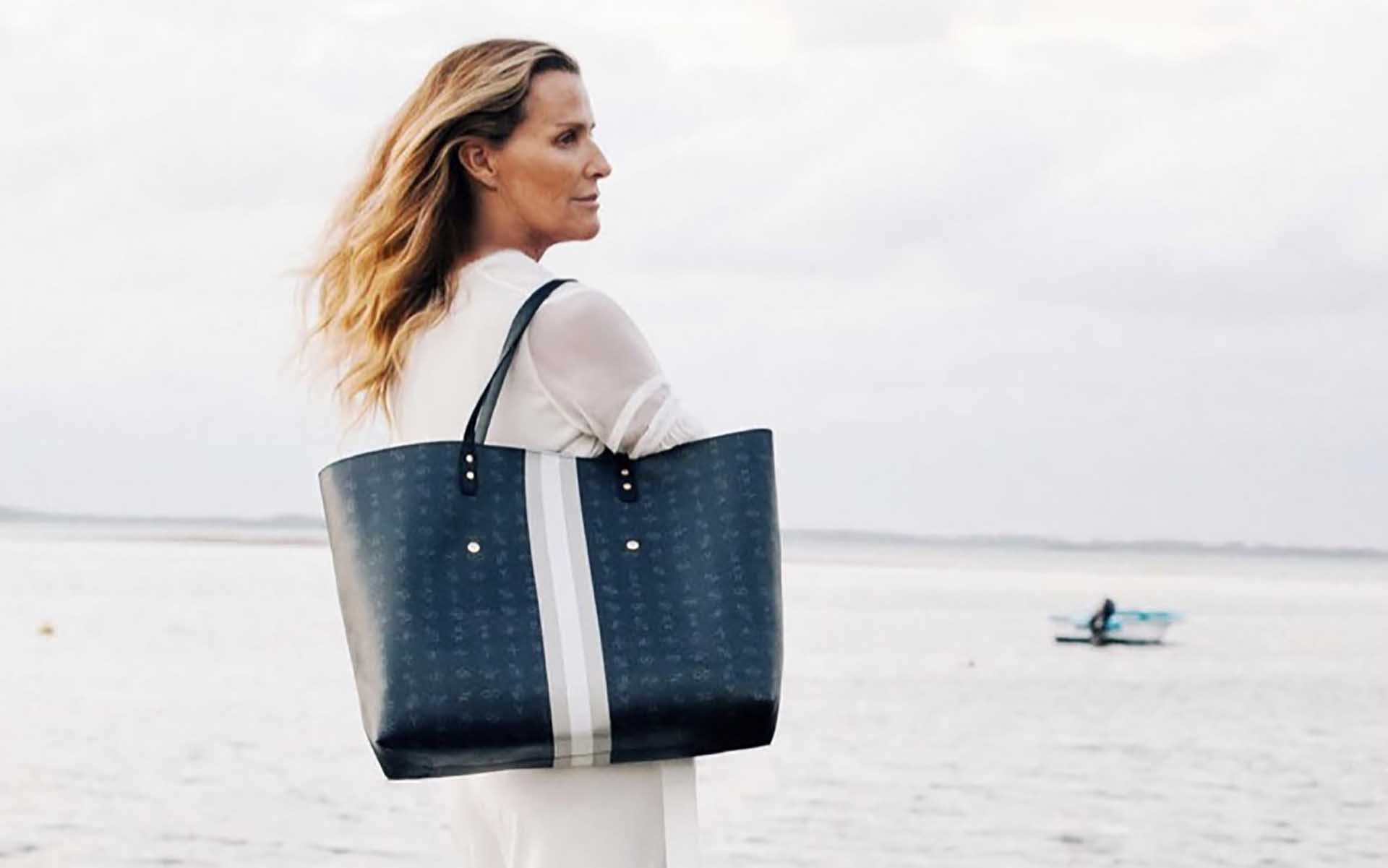 Pierre and Harry - woman models India Hicks bag